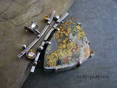 HALCYON DAYS - Ocean Jasper, Citrine and Sterling Silver Artisan Necklace