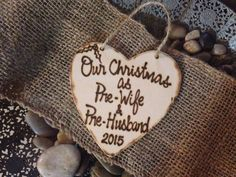 Christmas Ornament Newly Engaged Wood Heart by PrinceWhitaker                                                                                                                                                                                 More