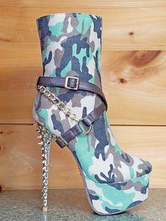 Camilla Canvas Green Camo Spiked Stiletto Heel Mid Calf Boot