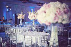 large floral cream pink centerpieces.
