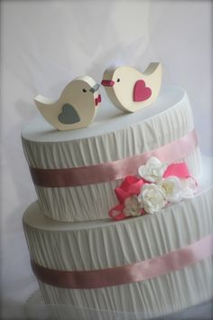 Wedding Cake Topper Love Birds by primitiveseason on Etsy, $16.75