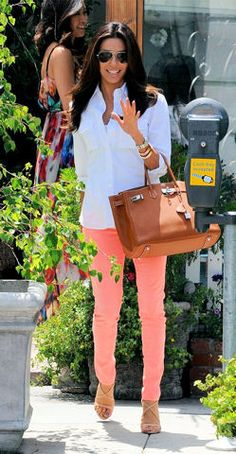 AG denim The Stilt jeans in neon orange and tan Birkin. LOVE this.