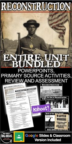 Reconstruction Unit Bundled The Reconstruction Era just lasted 12 years, but huge changes took place during this period. This short unit covers three constitutional amendments, the nation's first presidential impeachment, the election of the first African American Senator, and the birth of the KKK.    #HistoryLessonPlans #socialstudies 5th Grade Social Studies, Social Studies Classroom, Teaching Social Studies, Teaching Secondary, History Lesson Plans, World History Lessons, Teaching American History, Teaching History