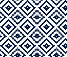 Aztec // navy fabric by littlearrowdesign on Spoonflower - custom fabric