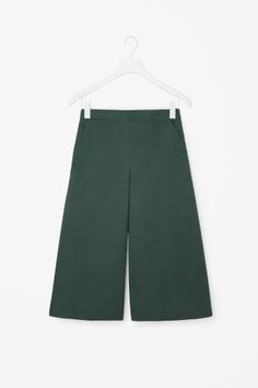 COS image 2 of Wide-leg cotton trousers in Forest Green