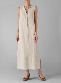 Linen slip on dress from Vivid, perfect with Roxy Lentz jewelry.