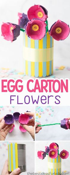 Make these Egg Carton Flowers. Egg Carton Crafts for Kids to make for Spring or Mother's Day. Egg Carton Crafts | Egg Carton Flowers Kids | Egg Carton Flowers DIY| Mother's Day Crafts | Mothers Day Crafts| Mothers Day Gifts | Mothers Day Gifts from Kids. #bestideasforkids #crafts #mothersday #craftsforkids via @bestideaskids