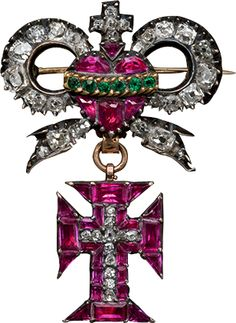 Inshiniya of the Order of Christ. Rococco c 1780, Portugal, gold, silver, diamond, ruby, emerald. The Order of Christ founded 1532 as the prestigious rank of Portugal, which was intended to involve the authority dedicated to the royal family with limited to Roman Catholics.