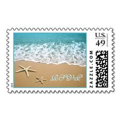 Pair of starfish beach destination wedding RSVP Stamp