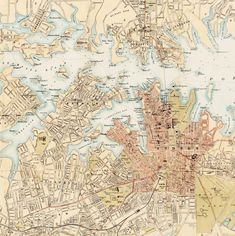 Old Map of Sydney and suburbs 1890 , Australia, New South Wales Vintage - product image