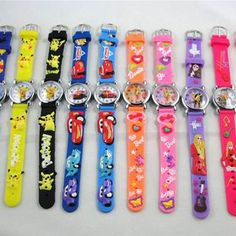 Assorted Popular Cartoon Silicone Watches Kids (6 Pcs) Red Jelly, Movie Projector, Popular Cartoons, Halloween Party Supplies, Digital Watch, Red And Blue, Beaded Bracelets, Unisex, Band