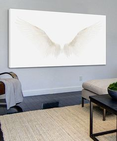 Look what I found on White Wings Gallery-Wrapped Canvas by Marmont Hill Angel Wings Painting, Diy Angel Wings, Angel Art, Angel Paintings, Wing Wall, Wings Drawing, White Wings, New Room, Wrapped Canvas