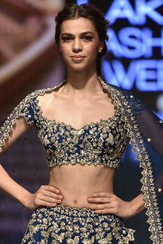 New Anushree Reddy 2019 Lakme Fashion Week Lehenga Prices - Lehenga Skirt, Lehenga Blouse, Blouse Dress, Lehenga Choli, Half Saree Designs, Saree Blouse Designs, Indian Bridal Outfits, Indian Dresses, Navy Blue Lehenga