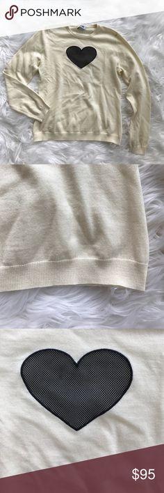 • Moschino • Cream Mesh Black Heart Sweater Size 8 - Moschino - Cream Scoop Neck Sweater - Mesh Heart - Size 8  - New without Tags Moschino Sweaters Crew & Scoop Necks