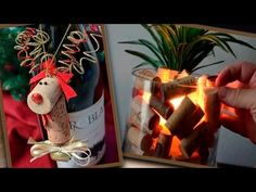 DIY: How to make easy ornaments from your leftover wine corks. Crafts from wine corks Recycled wine cork Christmas decorations: - wine cork Christmas tree - . Wine Cork Ornaments, Easy Ornaments, Wine Cork Crafts, How To Make Ornaments, Cork Christmas Trees, Christmas Wine, Christmas Wrapping, Diy Christmas Ornaments, Reindeer Christmas