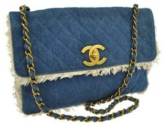 #Chanel Vintage #Denim Shoulder Bag with Chain shoulder , buy now at our tradesy store