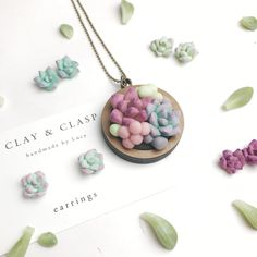 Polymer Clay Succulent pendant by ClayandClasp on Etsy https://www.etsy.com/au/listing/478710449/polymer-clay-succulent-pendant