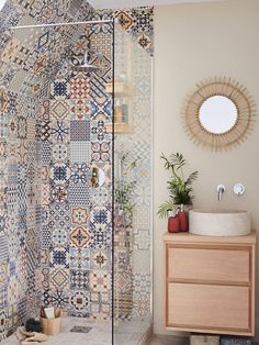 Define your style. Does your bathroom need a pop of colour? Mismatch any of our ceramic wall tiles to create an effortless boho chic feel to any bathroom. Boho Bathroom, Bathroom Design Small, Diy Bathroom Decor, Bathroom Interior Design, Home Decor Kitchen, Navy Bathroom, Bathroom Niche, Cream Bathroom, Industrial Bathroom
