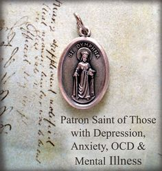 St. Dymphna Medal, Patron Saint of Those Suffering with Depression, Anxiety, OCD, Mental Illness