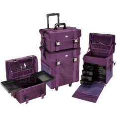 Seya 2 in 1 Purple Fabric Professional Makeup Artist Rolling Makeup Train Case Cosmetic Scrapbook Organizer w/ Storage Drawers, http://www.amazon.com/dp/B00I52UWTE/ref=cm_sw_r_pi_awdm_SP5htb0C8DSPF