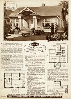 Perhaps one of their top ten most popular designs, the Sears Crescent was offered in two floor plans, with an expandable attic option in both plans.