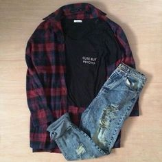 Grunge outfit idea nº7: Dark flannel patterned shirt, ripped blue jeans & black T - http://ninjacosmico.com/23-awesome-grunge-outfits/
