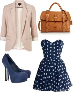 pastel with navy polka dots