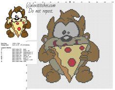 Baby Tasmanian Devil Taz eating pizza Looney Tunes character free cross stitch pattern - free cross stitch patterns by Alex
