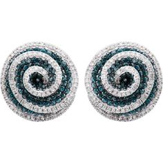 Crafted of fine 14-karat white gold, these round stud earrings shimmer with 2 1/2 carats of blue and white diamonds swirling around each other. The earrings close with secure saddleback clasps.