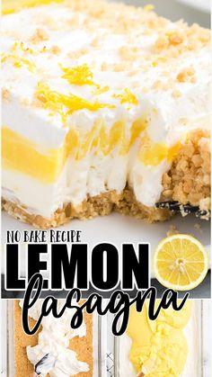 Lemon Dessert Recipes, Lemon Recipes, Baking Recipes, Cake Recipes, Potluck Recipes, Refreshing Desserts, Summer Desserts, Easy Desserts, Delicious Desserts