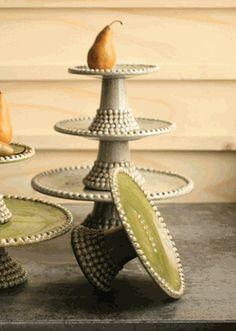 Grey Ceramic Beaded Cake Stands