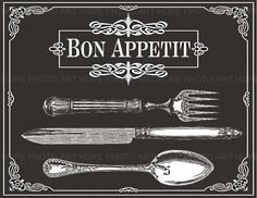 Bon ApPeTiT Table Setting Image Transfer Black and by HopePhotoArt
