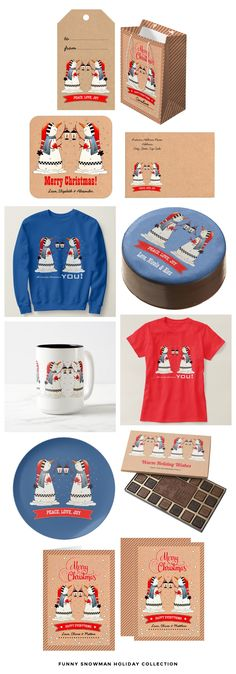 Two Funny Snowmen in Love design Holiday Collection of Greeting Cards, Gifts, T-Shirts and Sweatshirts for couple.  from the Mairin Studio store at zazzle.com