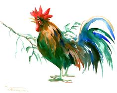 Rooster art, cock-a-doodle-doo original watercolor painting, 12 X 15 in, farm animal art, asian style watercolor brush painting