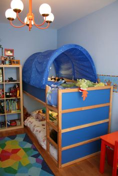 Ikea Kura bed used as bunk beds & $30 Ikea Kura bed tent. Made to work specifically with the kids ...