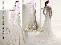 Long Sleeve Wedding Dresses Bridal Gown , White SimPle Chiffon , Idea , Jacket Bridal Wraps , Wedding Veil