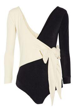 Lisa Marie Fernandez Mary Helen Wrap-Effect Micro-fiber bodysuit, $390 - chic workout gear for the new year - Elle