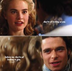 """ Kit: ""Believe me, they're all looking at you."" (Cinderella) Lily James as Ella, Richard Madden as Kit Cinderella Movie, Cinderella 2015, Cinderella Quotes, Disney And Dreamworks, Disney Pixar, Walt Disney, Disney Live, Disney Magic, Citations Disney"