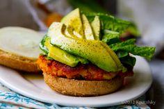 Easy Sweet Potato Veggie Burgers! With Avocado.