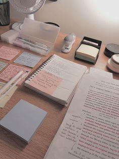 New study desk organization student note Ideas School Organization Notes, Study Organization, School Notes, Study Desk, Study Space, Study Areas, School Study Tips, Pretty Notes, Study Hard