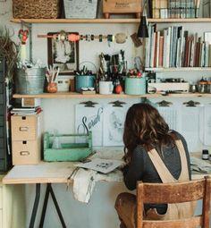 Stampington & Company An inspiring creative workspace! Home Art Studios, Art Studio At Home, Art Studio Spaces, Artist Studios, Art Studio Design, Art Studio Decor, Cool Office Space, Art Desk, Workspace Inspiration