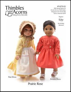 Thimbles and Acorns Prairie Rose Doll Clothes Pattern 18 inch American Girl Dolls | Pixie Faire