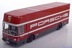 Mercedes O317 Renntransporter, Porsche Motorsport 1968, rot/grau. Schuco, 1/18, No.00323. 400€