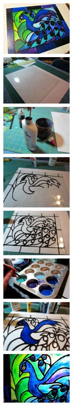 DIY Tutorial - Faux stained glass created from acrylic paint and school glue! Seriously easy project!