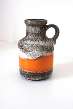 Vintage Scheurich Keramik Vase 414-16 Blumenvase WGP West Germany Fat Lava Orange Braun 70er