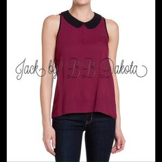 Peter Pan Collar Burgundy Sleeveless Top ️Adorable light burgundy peter pan collar top. Has keyhole upper back. Size small. Lightweight breathable meshlike fabric. New with tags. Will be ironed before mailing. It got a little wrinkled over time. Jack by BB Dakota Tops