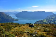 A beautiful piece of Norway. Viee from Svarthiller Mountainfarm towards Mollandsmarki (to the right) and the Lustrafjord. This is on the path towards Mt. Molden. Hafslo in Luster, Sogn og Fjordane, Norway.