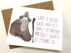 Gandalf Valentine// Lord of the Rings by averycampbellART on Etsy
