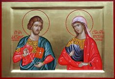 Christina of Tyre & St. Alexander of Thessalonica Byzantine, Saints, Icons, Female, Cards, Playing Cards, Icon Set, Maps, Symbols