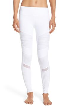 - Moto-inspired panels amplify the sporty-chic edge of these soft and stretchy workout leggings designed with mesh insets at the calves that vent excess heat to keep you cool and comfortable. - 28 1/2